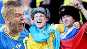 Флаг России на трибуне Украины и празднование выхода в четвертьфинал. Фото победы над Швецией