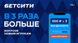 БЕТСИТИ объявил о старте акции «В 3 раза больше». Получить 3 фрибета по 500 рублей теперь можно без депозита