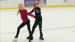 Плющенко выложил видео, как Гном Гномыч пробует себя в парном катании с девочкой