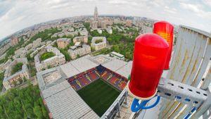 Как выглядит Москва со 142-метровой копии Кубка УЕФА. Показывает Sport24